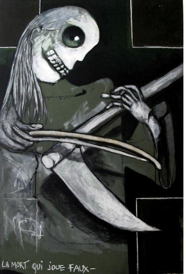 la mort, la mort qui joue faux,bmc peintures,art-maniac le blog de bmc, http://art-maniac.over-blog.com/ le peintre bmc,