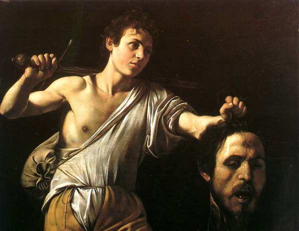 le caravage, david et goliath,bmc,art maniac, le blog de bmc, le peintre bmc, bmc peinture,