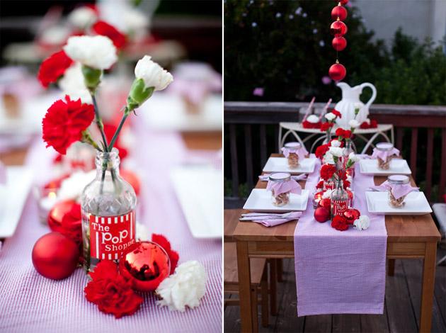 Mariages Rétro: Table de fête en rouge et blanc