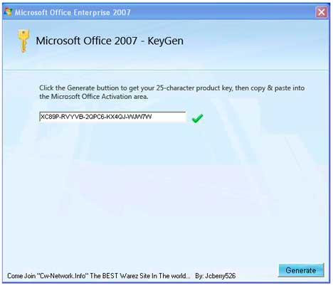 product key of ms office 2007