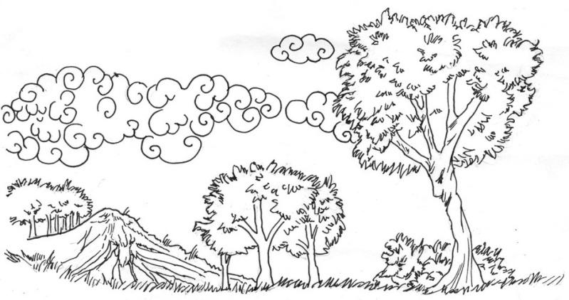 Nature scenery comment dessiner un paysage de printemps - Dessin le printemps ...