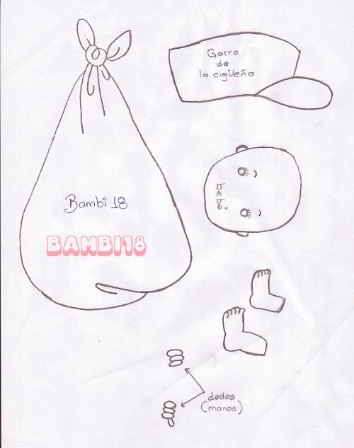 Molde de cigueña para baby shower niño - Imagui