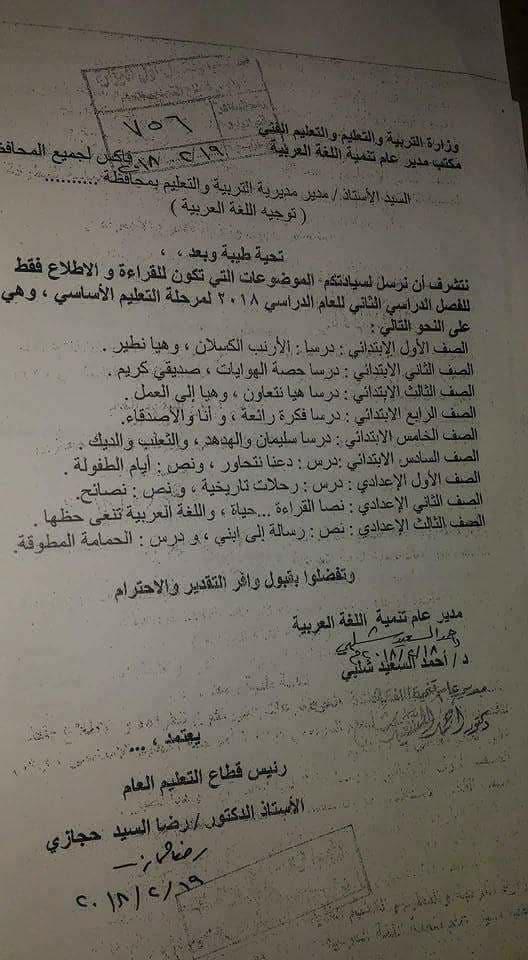 الفاكس الرسمى لمحذوفات اللغة العربية الصف الاول الابتدائى الصف الثالث