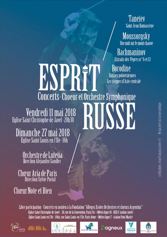 Affiche Concert Esprit Russe, 11 et 27 mais 2018