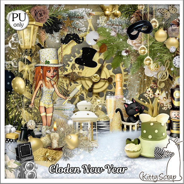 Golden new year de Kittyscrap dans Decembre kitty130