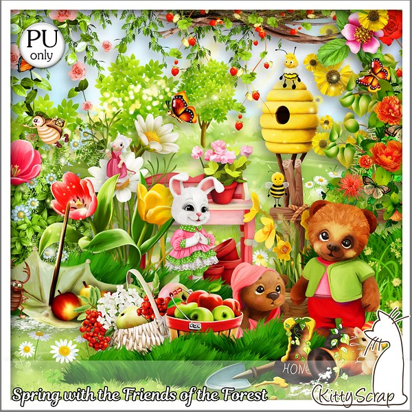 Spring with the friends of the forest de Kittyscrap dans Avril kitty451