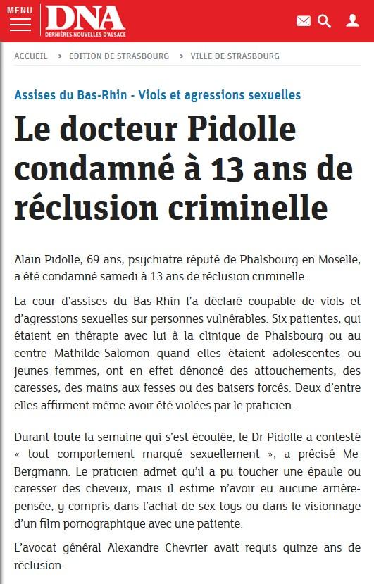 le psychiatre Alain Pidolle condamné à 13 ans de réclusion criminelle