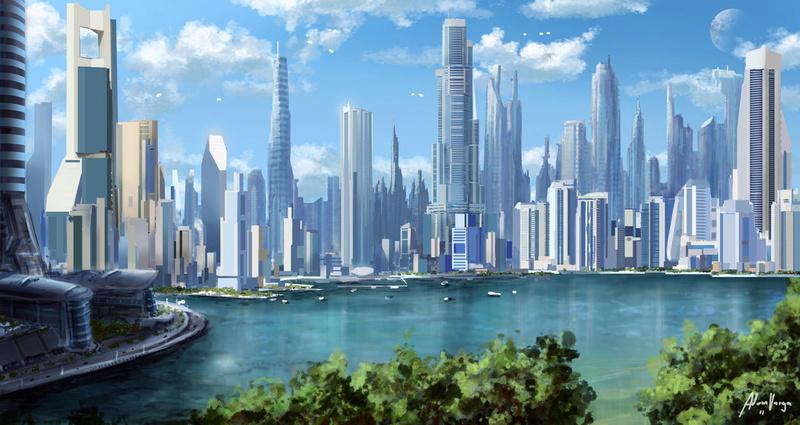 Connon : Cross fate city concept by Adam Barga