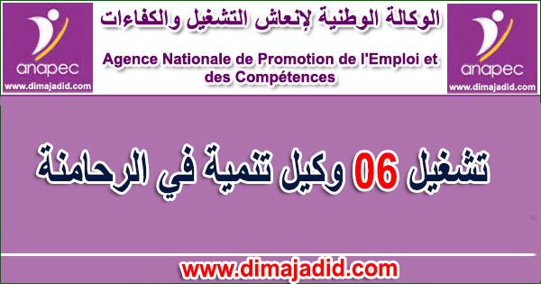 الوكالة الوطنية لإنعاش التشغيل والكفاءات: تشغيل 06 وكيل تنمية في الرحامنةL'Agence Nationale de Promotion de l'Emploi et des Compétences - ANAPEC recrute (6) Agent De Développement sur RHAMNA